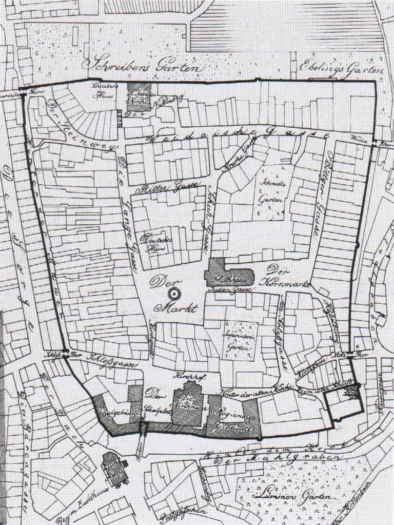 Dieser Plan aus dem Stadtarchiv zeigt den Grundriss der Altstadt um das Jahr 1820.